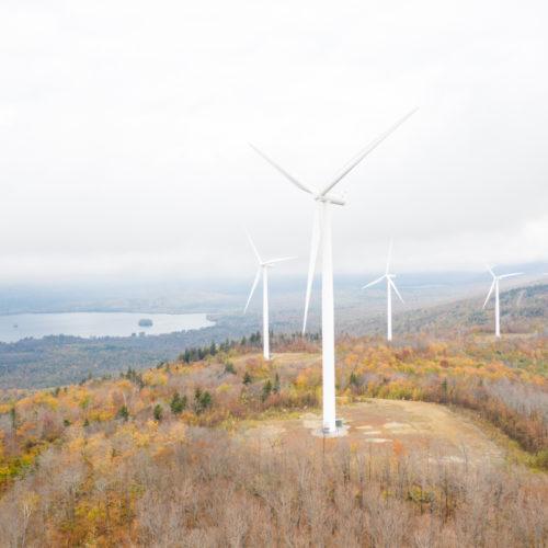 Solar Power Windmill Near Lake View