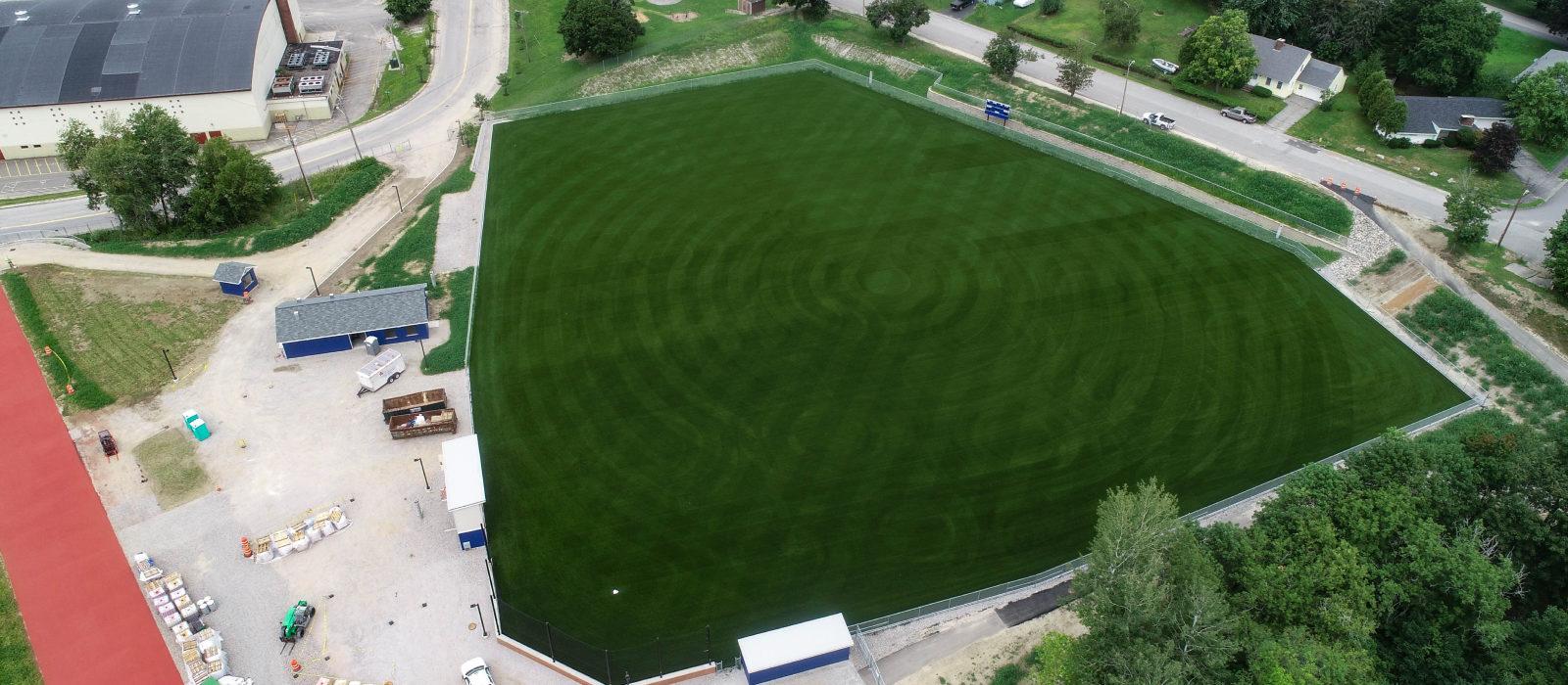 Aerial Wide View Of Lewiston Public Schools Turf Field